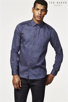 Ted Baker Navy Jakee Polka Dot Shirt