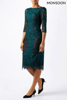 Monsoon Green Courtney Lace Dress