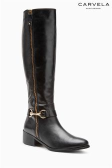 Carvela Waffle Black Knee High Leather Boot
