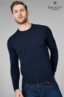 Hackett Navy Lambswool Crew Neck Jumper