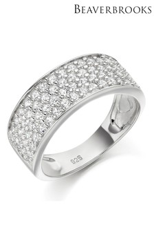 Beaverbrooks Silver Four Row Cubic Zirconia Ring
