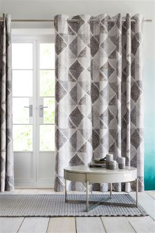 Linear Diamond Geo Print Eyelet Curtains