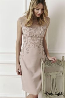 Phase Eight Dusty Pink Dress One Beaded