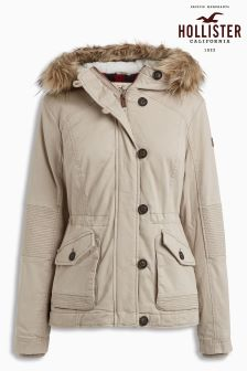Hollister Grey Faux Fur Hood Parka