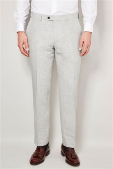 Grey Delave Linen Tailored Fit Trousers