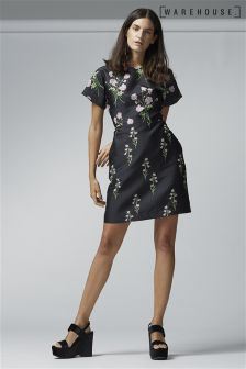 Warehouse Black Rose Dress