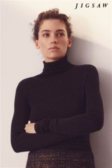 Jigsaw Black Silk Cotton Polo Neck
