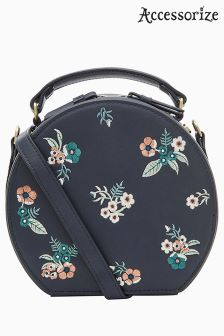 Accessorize Blue Hepburn Embroidered Across Body Bag