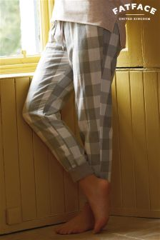 Fat Face Grey Check Cuffed Pyjama Bottom