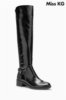 Miss KG Black Patent Whim Tall Boot