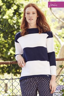 Joules Clemence Salt Hope Stripe Indigo Crew Neck Sweatshirt