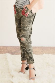 Embroidered Camo Trousers