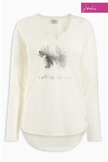 Joules Nita Print Cream Long Sleeve Jersey Pyjama Top