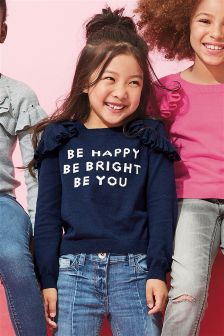 Slogan Ruffle Sweater (3-16yrs)