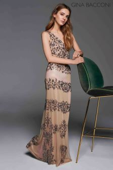 Gina Bacconi Nude Gemma Floral Beaded Maxi Dress
