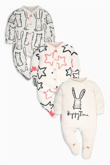 Cat And Bunny All Over Print Sleepsuits Three Pack (0mths-2yrs)
