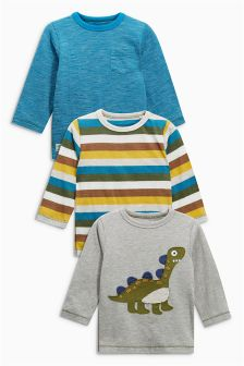 Long Sleeve Appliqué Dinosaur T-Shirts Three Pack (3mths-6yrs)