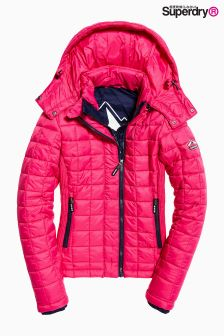 Superdry Pink Hooded Box Quilt Fuji Jacket