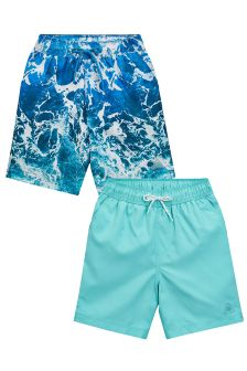 Print And Plain Swim Shorts Two Pack (3-16yrs)