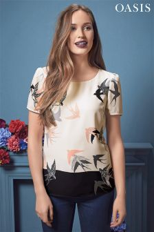 Oasis Bird Print Patched Floral Tee