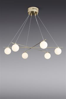 Spheres 6 Light Brass Pendant