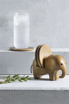 Elephant Wooden Coaster Holder