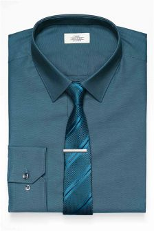 Textured Tonic Regular Fit Shirt And Tie Set