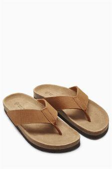 Textured Leather Flip Flop