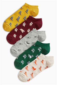 Pattern Low Rise Animal Trainer Socks Five Pack