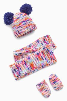 Hat, Scarf And Mitts Set (Younger Girls)
