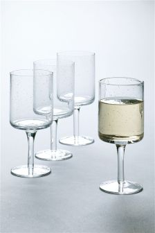 Set Of 4 Bubble Effect Wine Glasses