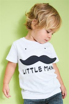 3D Moustache T-Shirt (3mths-6yrs)