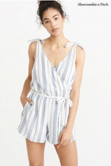 Abercrombie & Fitch Blue Stripe Playsuit