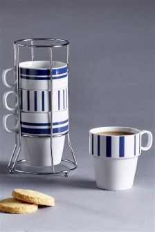 Set Of 4 Blue Band Stacking Mugs