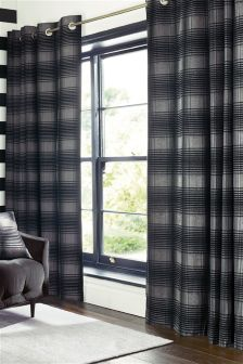 Charcoal Tailored Chenille Check Eyelet Curtains