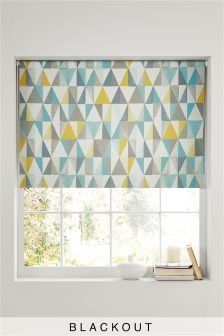 Textured Geo Print Blackout Roller Blind