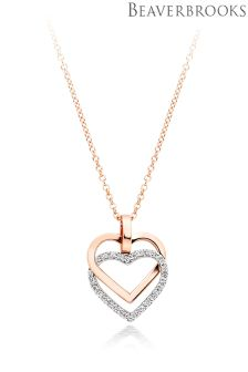 Beaverbrooks 9ct Two Colour Gold Cubic Zirconia Hearts Pendant