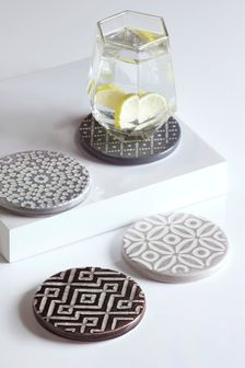 Set Of 4 Geo Design Ceramic Coasters