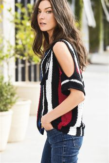 Cold Shoulder Tassel Sweater
