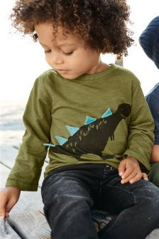 Long Sleeve 3D Dinosaur T-Shirt (3mths-6yrs)