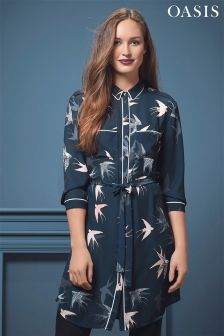 Oasis Bird Print Piped Shirt Dress