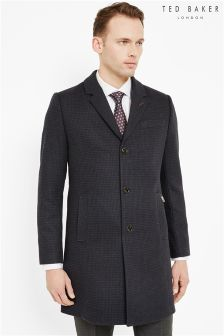 Ted Baker Navy Checked Overcoat