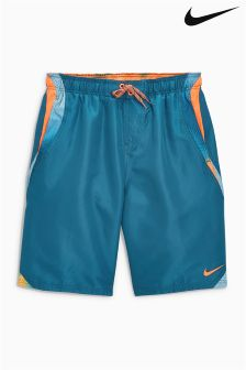 "Nike Navy Orange Liquid Haze 9"" Swim Short"