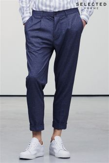 Selected Homme Grey Tapered Fit Cropped Trouser