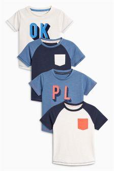 Short Sleeve Slogan T-Shirts Four Pack (3mths-6yrs)