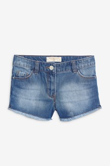 Denim Frayed Hem Shorts (3-16yrs)