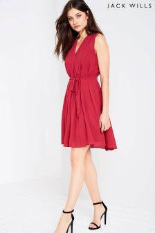 Jack Wills Red Pleat Shift Dress
