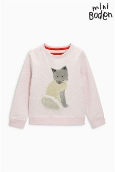 Boden Pink Snowy Friends Sweatshirt