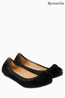 Accessorize Black Olivia Elasticated Suede Bow Ballerina
