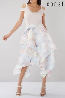 Coast Multi Vinca Printed Overlay Midi Dress